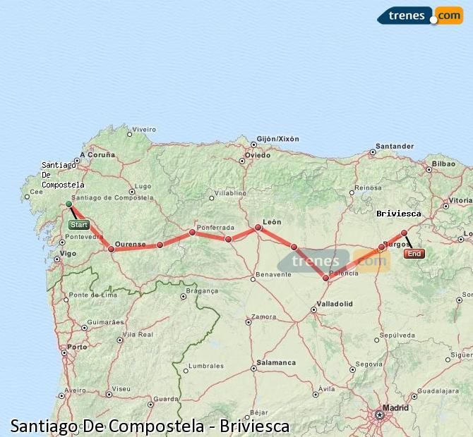 Ampliar mapa Trenes Santiago De Compostela Briviesca