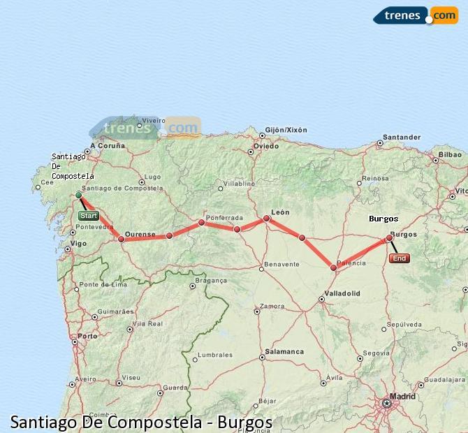 Enlarge map Trains Santiago de Compostela to Burgos