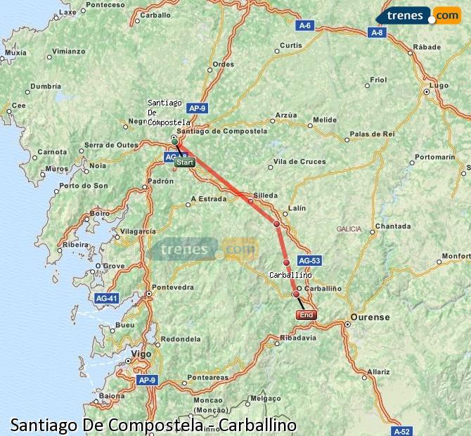 Ampliar mapa Comboios Santiago De Compostela Carballino