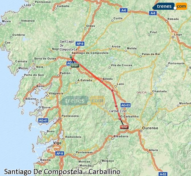 Karte vergrößern Züge Santiago De Compostela Carballino
