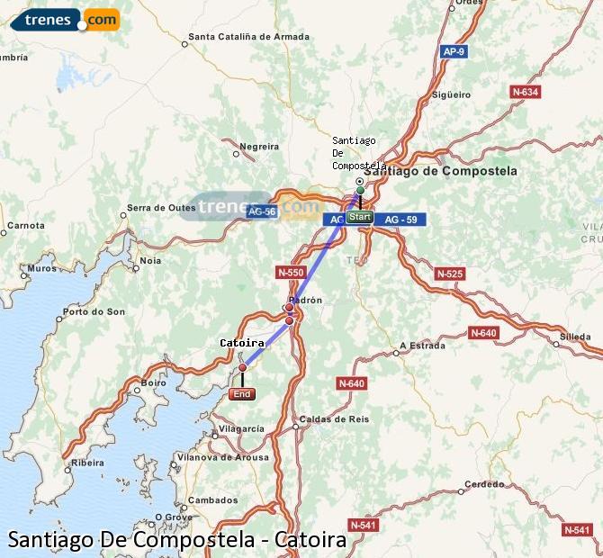 Ampliar mapa Comboios Santiago De Compostela Catoira