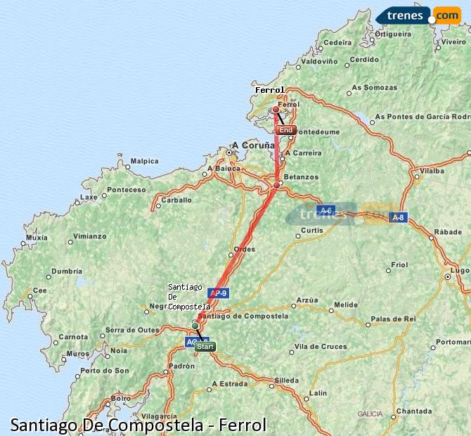Karte vergrößern Züge Santiago De Compostela Ferrol
