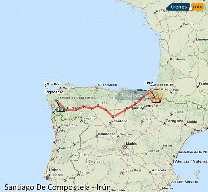 Enlarge map Trains Santiago de Compostela to Irun