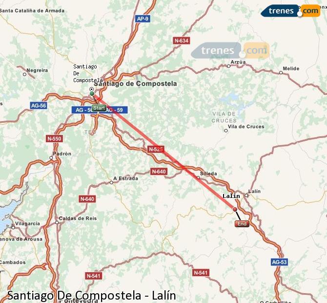 Enlarge map Trains Santiago de Compostela to Lalín