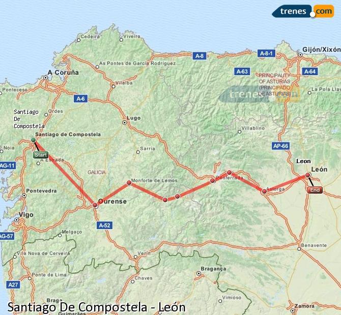 Karte vergrößern Züge Santiago De Compostela León