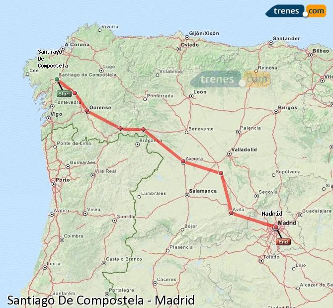 Ingrandisci la mappa Treni Santiago De Compostela Madrid
