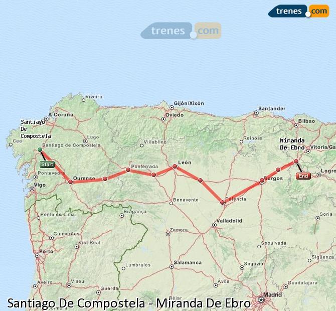 Agrandir la carte Trains Santiago De Compostela Miranda De Ebro