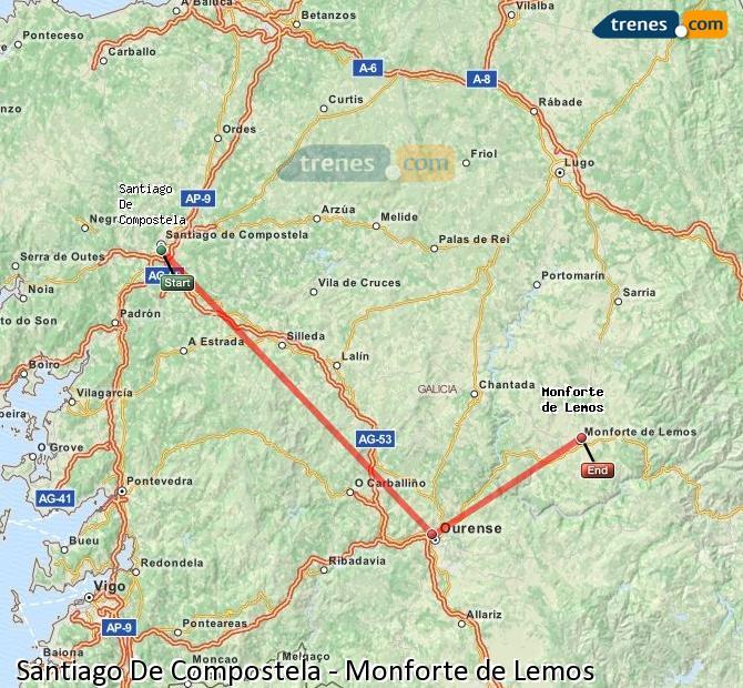 Enlarge map Trains Santiago de Compostela to Monforte de Lemos