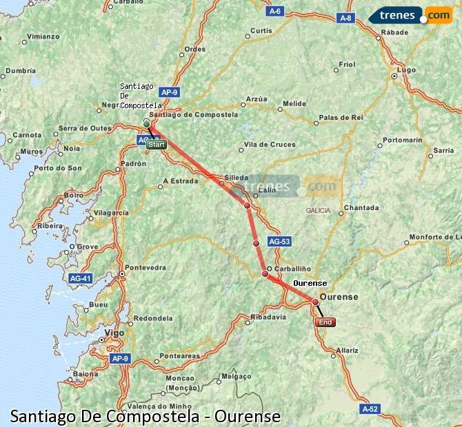 Ampliar mapa Trenes Santiago De Compostela Ourense