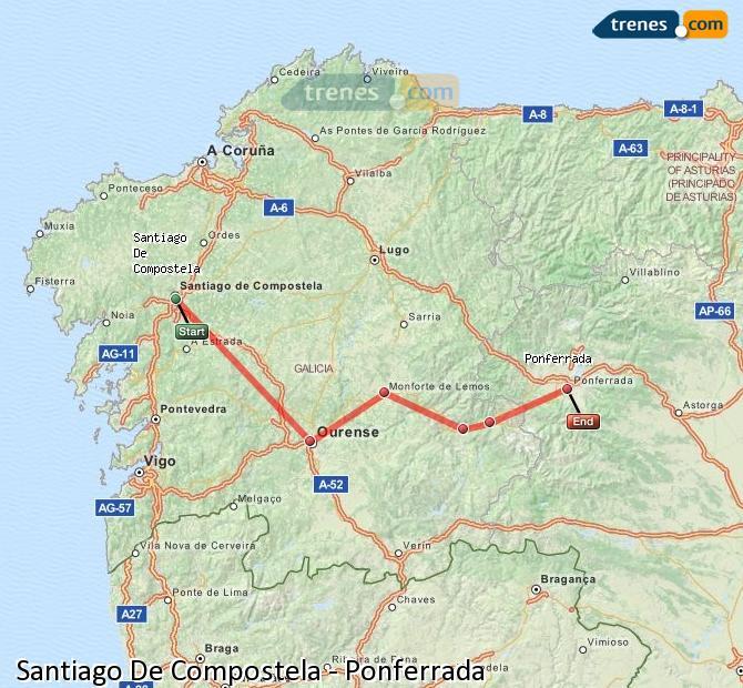 Karte vergrößern Züge Santiago De Compostela Ponferrada