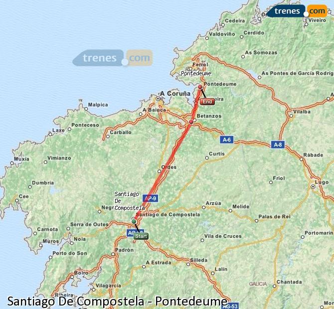 Ingrandisci la mappa Treni Santiago De Compostela Pontedeume