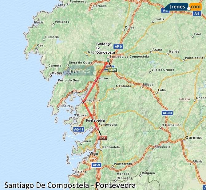Enlarge map Trains Santiago de Compostela to Pontevedra