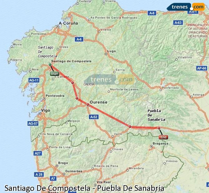 Karte vergrößern Züge Santiago De Compostela Puebla De Sanabria