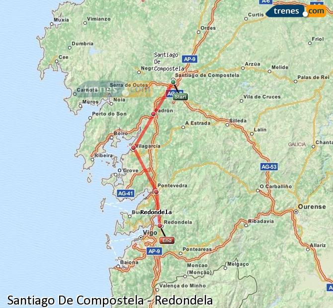 Ingrandisci la mappa Treni Santiago De Compostela Redondela