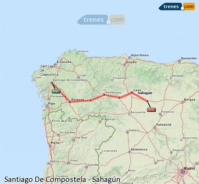 Ingrandisci la mappa Treni Santiago De Compostela Sahagún
