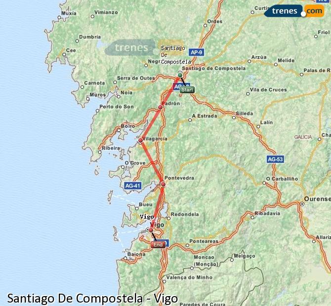 Ingrandisci la mappa Treni Santiago De Compostela Vigo