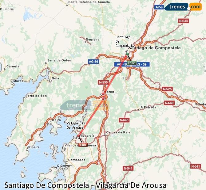 Enlarge map Trains Santiago de Compostela to Vilagarcía De Arousa