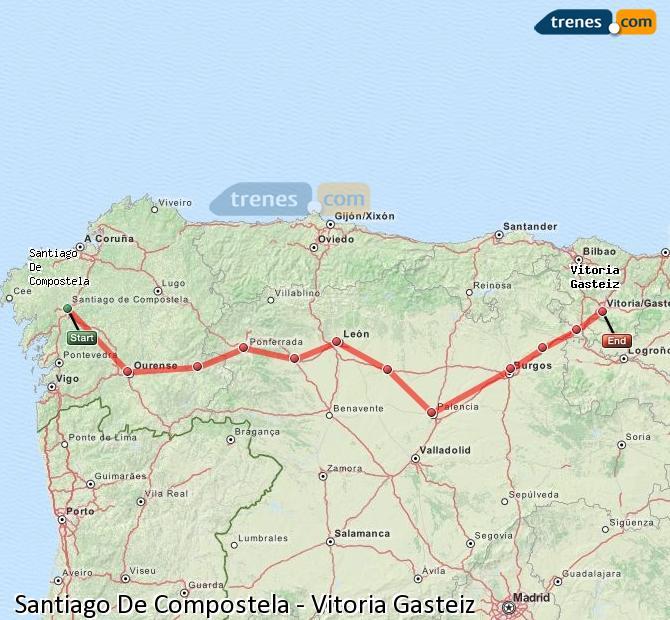 Karte vergrößern Züge Santiago De Compostela Vitoria Gasteiz