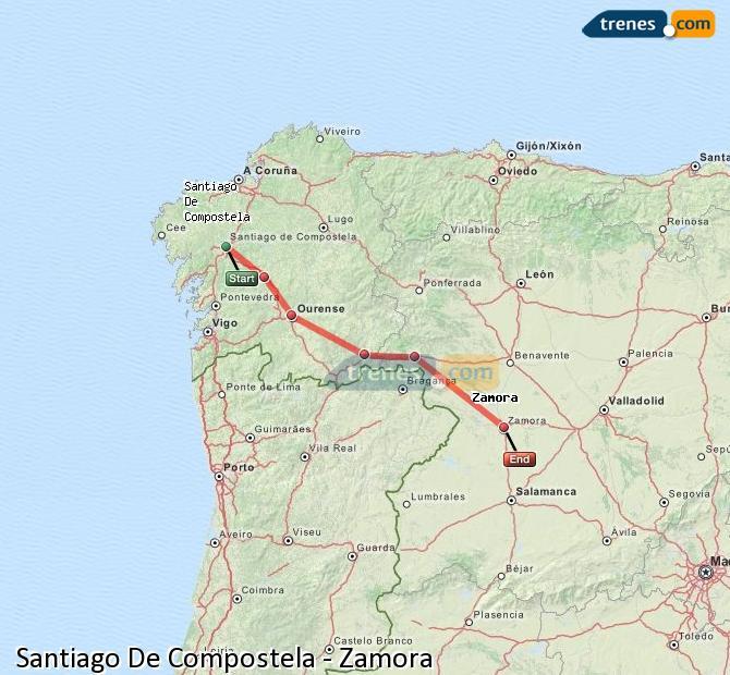 Agrandir la carte Trains Santiago De Compostela Zamora