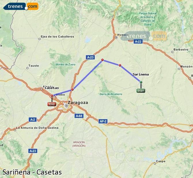 Karte vergrößern Züge Sariñena Casetas