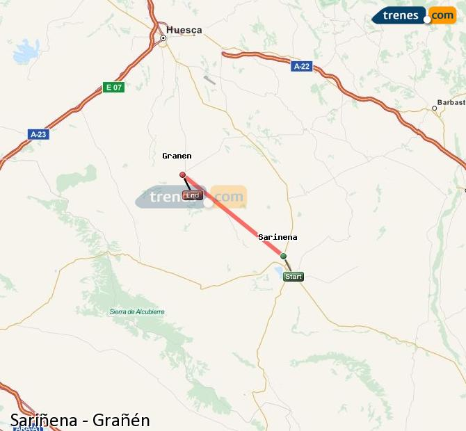 Karte vergrößern Züge Sariñena Grañén