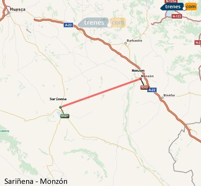Karte vergrößern Züge Sariñena Monzón