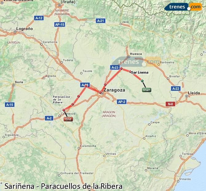 Enlarge map Trains Sariñena to Paracuellos de la Ribera