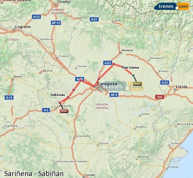 Ingrandisci la mappa Treni Sariñena Sabiñán