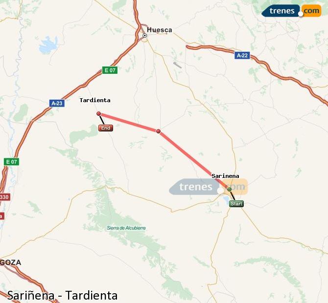 Karte vergrößern Züge Sariñena Tardienta