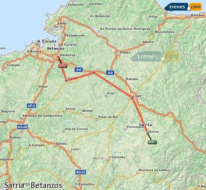 Ingrandisci la mappa Treni Sarria Betanzos