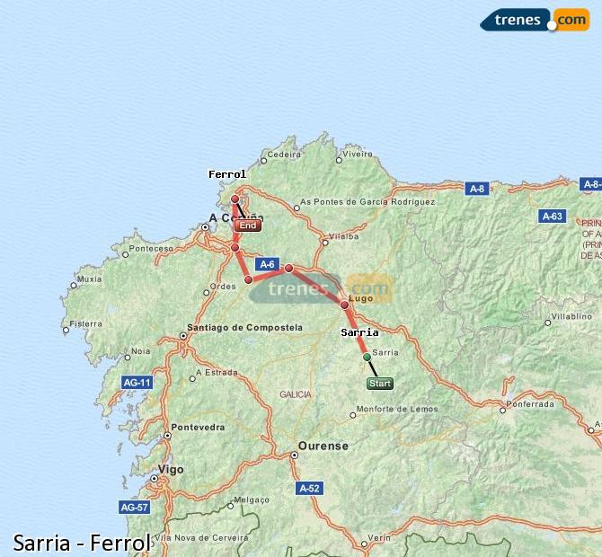 Enlarge map Trains Sarria to Ferrol