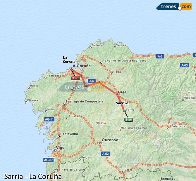 Ingrandisci la mappa Treni Sarria La Coruña