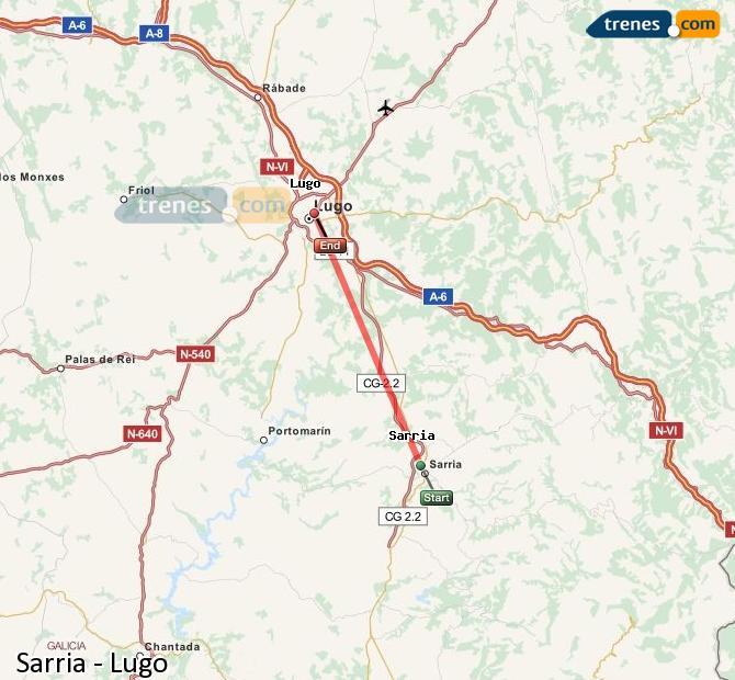 Ampliar mapa Trenes Sarria Lugo