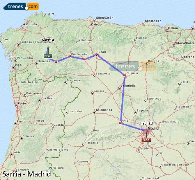 Ingrandisci la mappa Treni Sarria Madrid