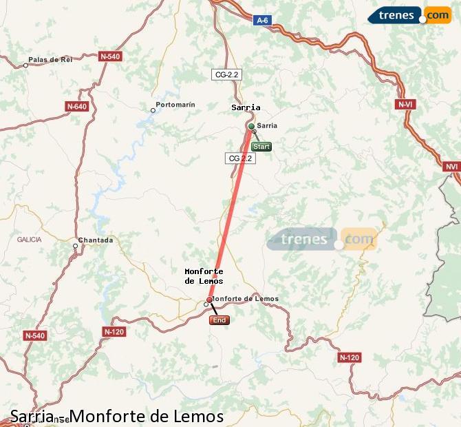 Karte vergrößern Züge Sarria Monforte de Lemos