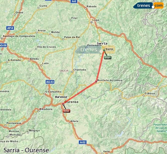 Enlarge map Trains Sarria to Ourense