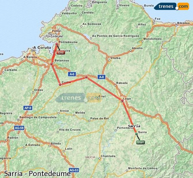Karte vergrößern Züge Sarria Pontedeume