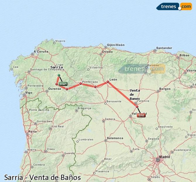 Ampliar mapa Comboios Sarria Venta de Baños