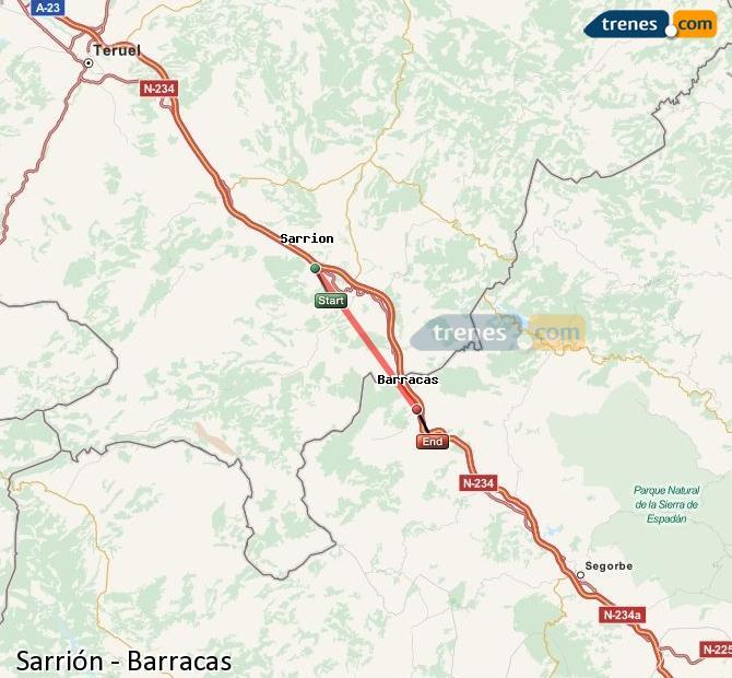 Ingrandisci la mappa Treni Sarrión Barracas
