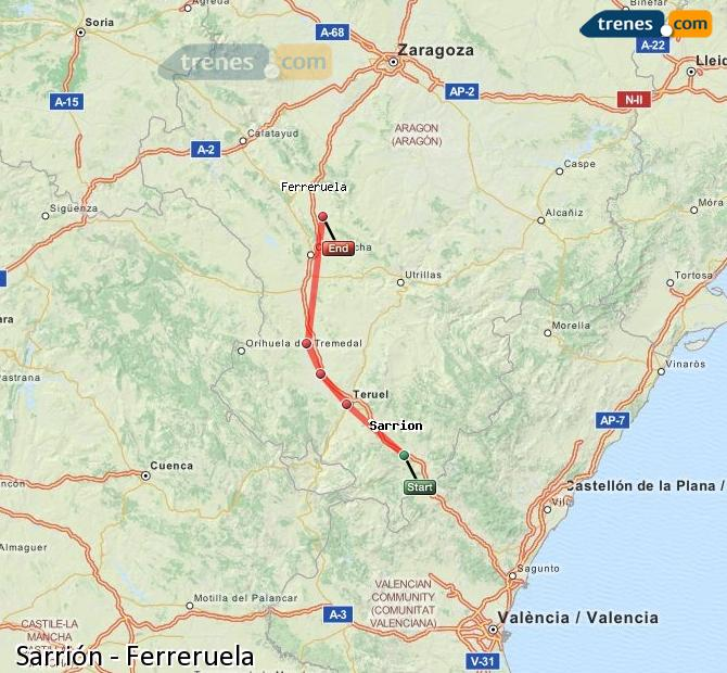 Enlarge map Trains Sarrión to Ferreruela