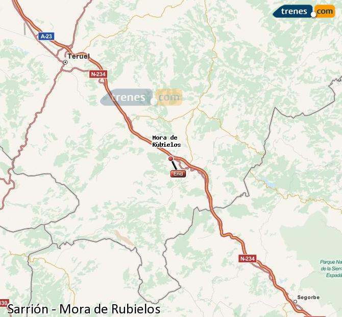 Enlarge map Trains Sarrión to Mora de Rubielos