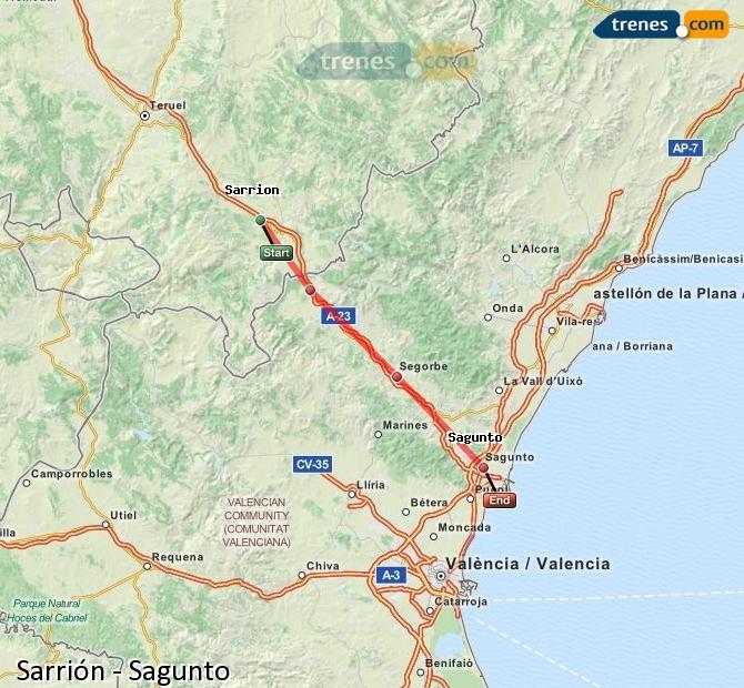Ampliar mapa Trenes Sarrión Sagunto