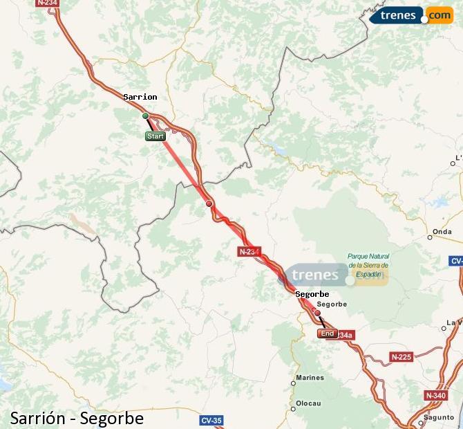 Agrandir la carte Trains Sarrión Segorbe