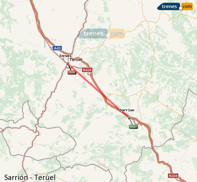 Ingrandisci la mappa Treni Sarrión Teruel