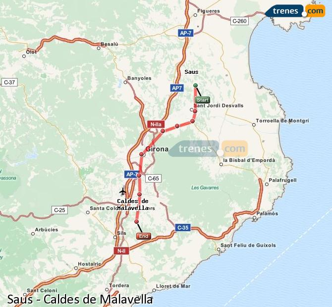 Ampliar mapa Trenes Saus Caldes de Malavella