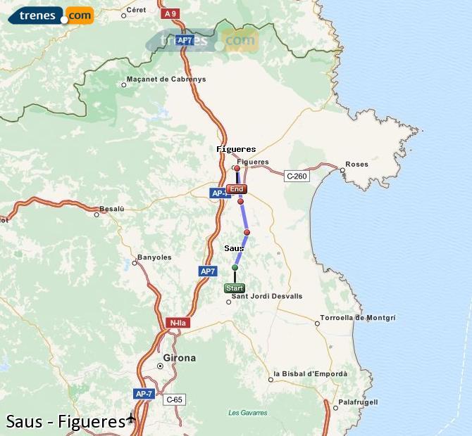 Agrandir la carte Trains Saus Figueres