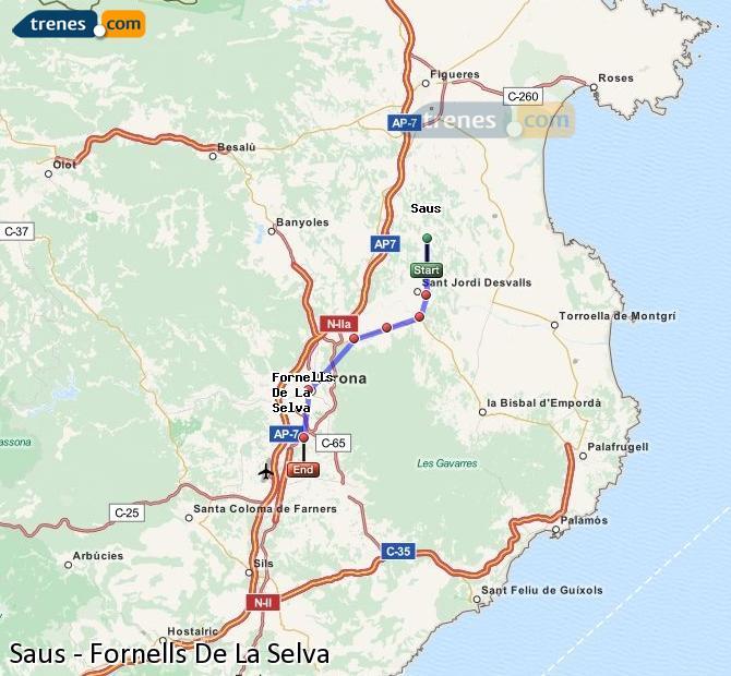 Enlarge map Trains Saus to Fornells De La Selva