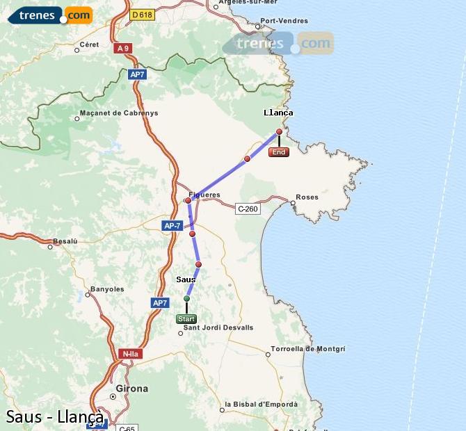 Ingrandisci la mappa Treni Saus Llançà