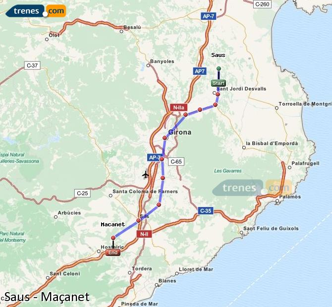 Agrandir la carte Trains Saus Maçanet