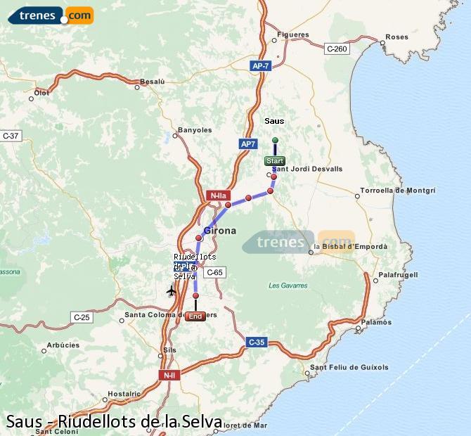 Ingrandisci la mappa Treni Saus Riudellots de la Selva